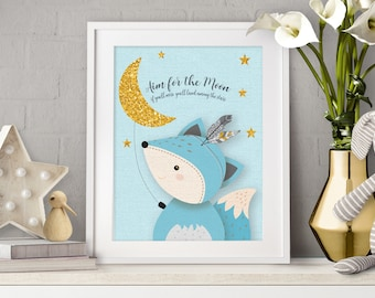 Aim for the moon, Giclee print, Fox print, Woodlands Nursery, Fox nursery, Woodland Nursery Fox Decor, Baby Fox Print Decor, Gold moon, Fox