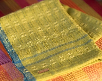 Handwoven Cottolin Dish Towel - Green with blue accent stripes