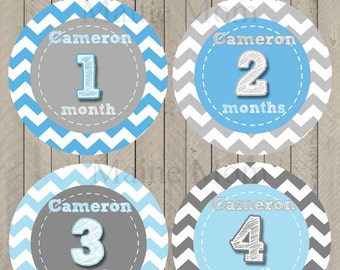 FREE GIFT, Personalized Monthly Baby Stickers, Baby Month Stickers,  Milestone Stickers Baby Boy Gift Bodysuit  Blue Grey Chevron Stickers