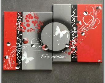 Contemporary diptych painting red and gray, butterflies, bubbles, trendy