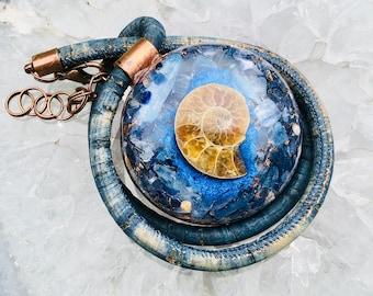 Orgonite® Pendant (Large) - Blue Kyanite/Sodalite/Ammonite - FREE WORLDWIDE SHIPPING!