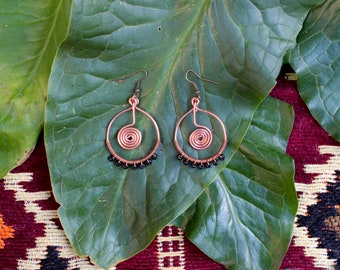 Copper Wire Wrap Sacred Spiral Hoops