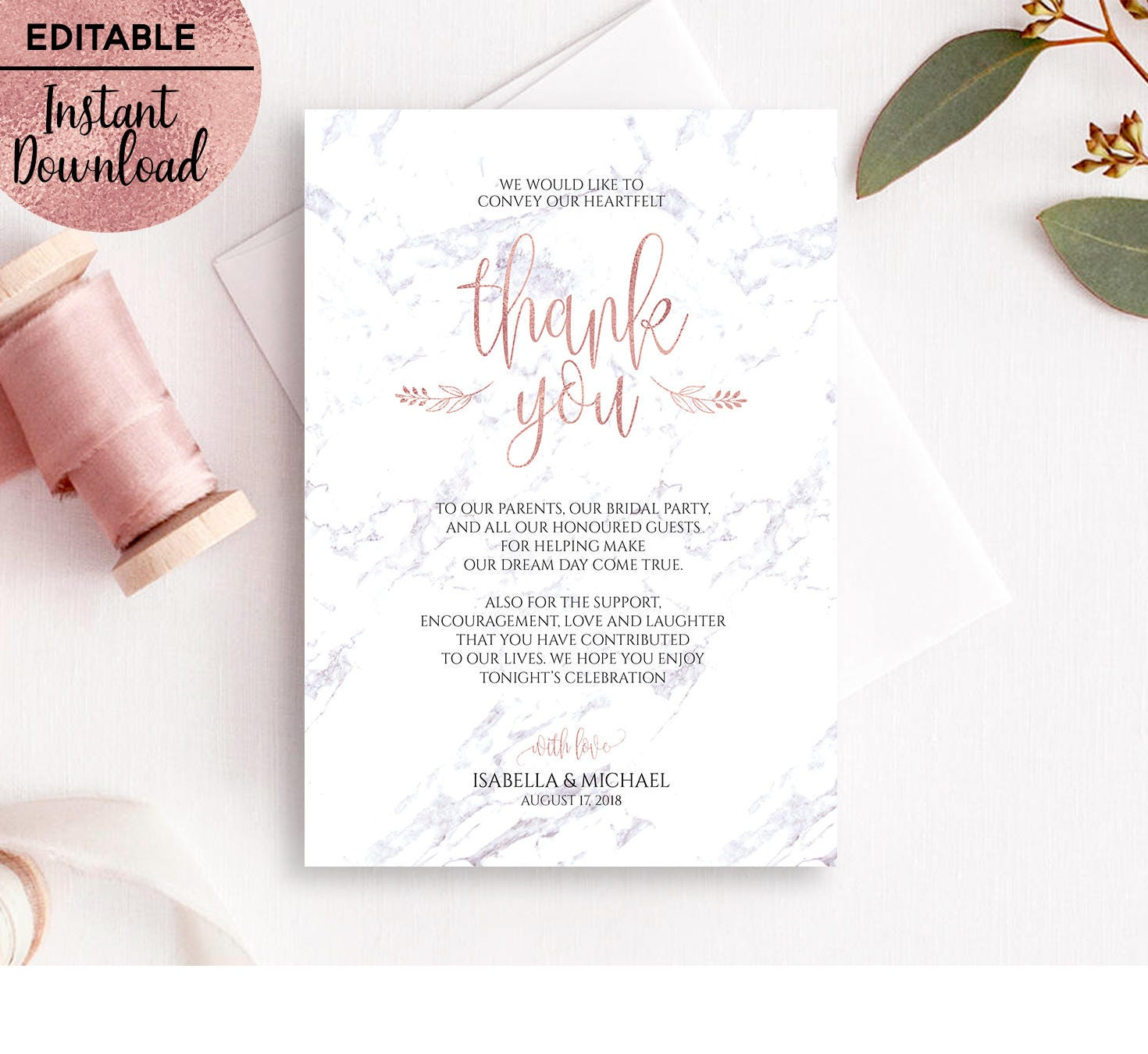 Marble Rose Gold Wedding Thank You Card Template Printable 5x7