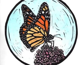 Monarch butterfly linocut print