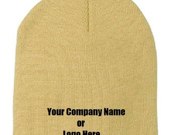 Custom Personalize Embroider Your Company Name, Logo or Text on a Beanie Hat