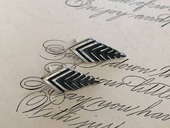 Leaf Earrings, Arts and Crafts Style, Art Deco Earrings