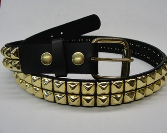 "1-1/4"" (32mm) wide Genuine Leather Belt with 2 rows 1/2"" (13 mm) PY-77 Pyramid Square Studs Brass/Golden Studded Spiked Made in U.S.A. NYC"