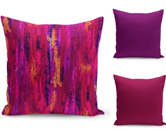 Colorful Pillow Covers, Magenta Purple Pink Orange Fuchsia , Home Decor, Accent Throw Pillow Cover, Decorative Pillow Covers