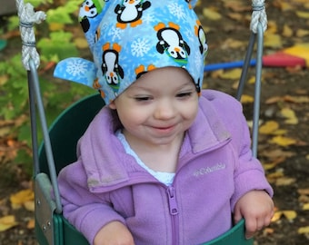 Jaye Children's Flannel Head Cover, Girl's Cancer Headwear, Chemo Scarf, Alopecia Hat, Head Wrap, Cancer Gift for Hair Loss - Penguins