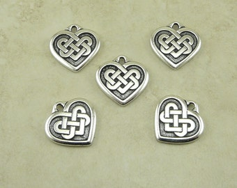 5 TierraCast Large Heart Shaped Celtic Knot Charms > Love Irish Ireland - Fine Silver Plated Lead Free Pewter - I ship Internationally 2394