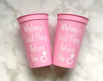 Last Fling Before The Ring Bachelorette Party Cups, 22oz