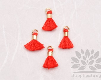 T010-RD// Red Tiny 10mm Tassel, 6 pcs