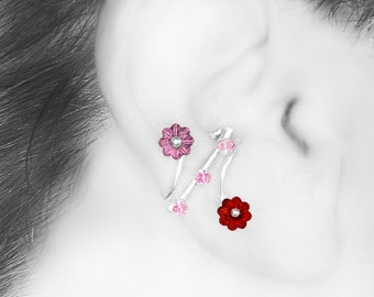 Red and Pink Swarovski Crystal Ear Cuff, No Piercing, Cartilage Jewelry, Rose Crystal, Crystal Earrings, Wire Wrapped, Bellatrix III v3