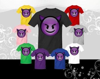Smiling Devil Emoji T-shirt (U+1F608)