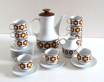 Vintage 70s German Porcelain Coffee Set with Pop Brown and Yellow Flowers