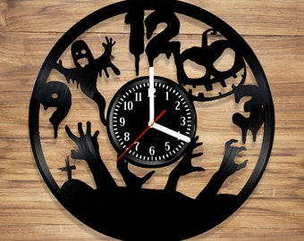 Halloween Vinyl Wall Clock vinyl clock design Horror Perfect gift Art Decorate Home MODERN Style UNIQUE GIFT idea for Him Her (12 inches)