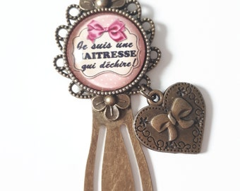 Bookmarks, bronze gift teacher that rocks rose and bow