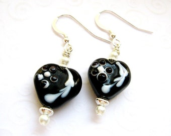 Black and White Heart Drop Earrings, Black Heart Jewelry, Black and White Fancy Heart Earrings, Gift for Her