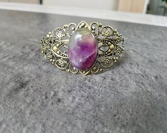 Filigree Cuff Bracelet with semi precious amethyst stone