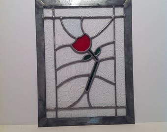 Stainglass - clear with red rose