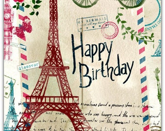 Card happy birthday Paris 21 x 15cm