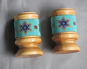 Star of David Beaded Wooden Candle Holders