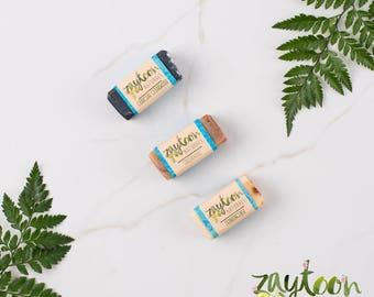 Woody Mini Soap Sampler -- Try 3 mini 2oz Soaps -- Charcoal Cedarwood, Sandalwood and Frankincense