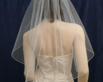 Crystal rhinestone accented wedding veil elbow length bridal veil