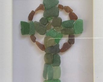 Celtic cross, Easter decoration, Scottish seaglass cross, beach glass art, baptism gift, ceramic mosaic Scotland cross