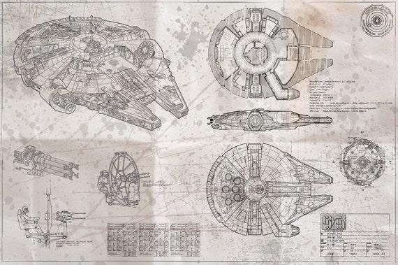 Millennium falcon blueprint whiteprint edition malvernweather Image collections