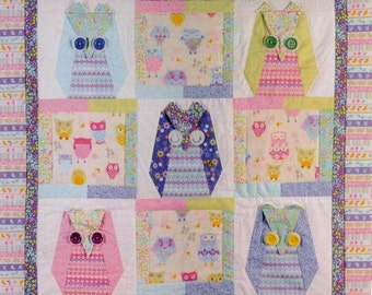 Owl patchwork quilt  for children - PATTERN ONLY