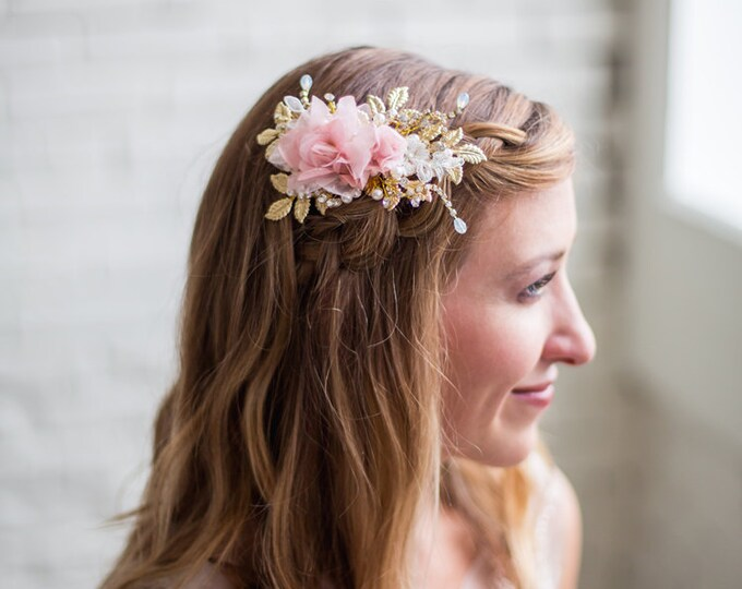 Gold Leaves Headpiece, Ivory Flower Hair Comb, Wedding Hair Accessories, Blush Flower Headpiece, Bridal Hair Accessories, Gold Hair Clip