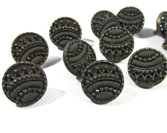 """Victorian Perfume Buttons Twelve (12) Victorian Perfume Buttons Brass Steel Fabric 7/16"""" Blue Tint Vintage Jewelry Sewing Supplies (D280)"""