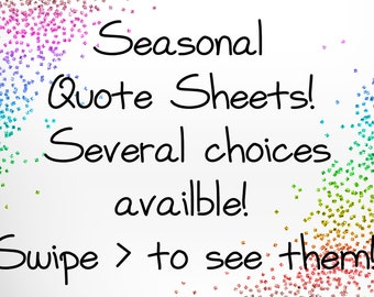Seasonal Quote Planner Stickers - for use with Erin Condren - Happy Planner Stickers - Winter Stickers - Fall Stickers - Spring Stickers