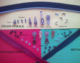 Kit repair zippers pants bags covers slider zipper sliders