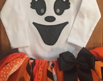 Orange and Black Girly Ghost Halloween Scrap Fabric Tutu Outfit