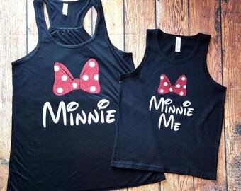 Mommy and Me Disney Tanks, Minnie Me, Minnie Tank, Glitter Minnie, Matching Minnie Family Shirts, Disney Family Tank, Family Disney Shirt
