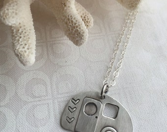 Retro Camper Charm Necklace, Sterling Silver Camper Necklace, Lets Go Camping Jewelry, Vintage Travel Trailer, Camping Jewelry, Happy Camper