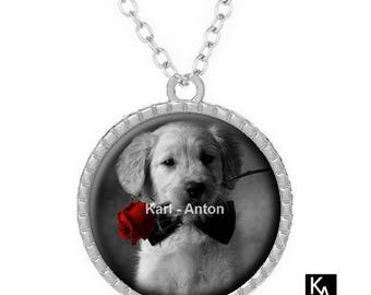 Silver round pendant + chain design puppy collar and rose (1140) - dog, red, black flower