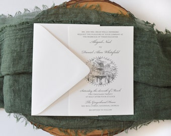 Lafayette Square Fountain Invitation Suite - Elegant Wedding - Savannah, GA - Southern Belle - Southern Wedding - Savannah City Square