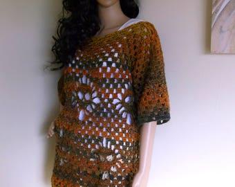 Hand Crochet Skull Sweater, Oversize Sweater, Chunky Sweater, Multi Color Skull Sweater, Size Med/Large