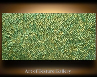 Abstract Texture Painting 48 x 24 Original Modern Green Sage Metallic Knife Sculpture Impasto Oil by Je Hlobik