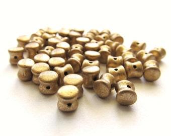 Matte Metallic Gold Czech Glass Pellet or Drum Beads, 6mm - 50 pieces