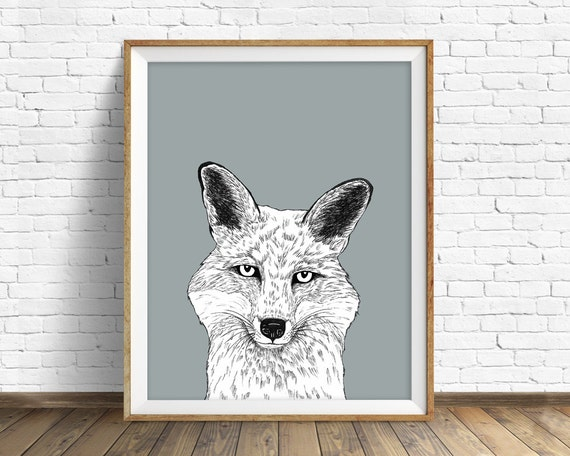 "fox art print, wall art, woodland animals, fox wall art, large art, large wall art, gray, modern, minimalist, animal prints, black -""Fox"""