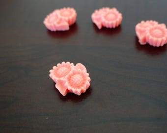 Pink set of 4 sunflower cabochons