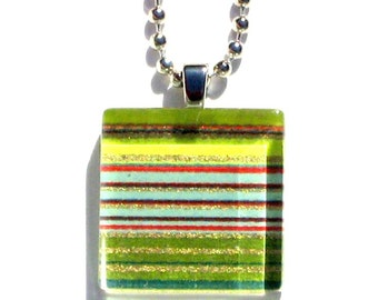 classic pinstripes - mini glass tile and Japanese chiyogami pendant necklace