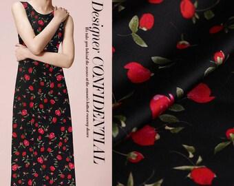 Small Rose Print Black Stretch Silk Satin Fabric Width 42 inch