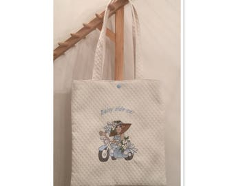 Tote bag in white cotton pique off-white embroidered with a lady in site because
