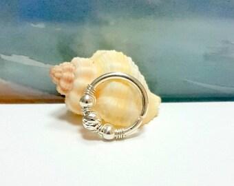 14g 16g 18g Nose Piercing - Beaded Septum Ring - Silver Septum hoop- Septum Piercing-Nose ring-Nostril Hoop-Conch Hoop-8-12mm Inner Diameter