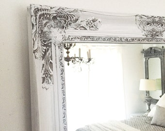 Farmhouse Mirror, Vanity Mirror, Ornate Bathroom Mirror Gray and White Distressed Cottage Chic Mirror